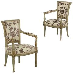 Pair of French Neoclassical Antique Green Painted Arm Chairs