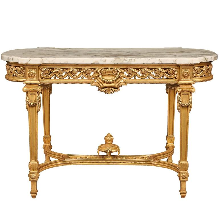 French 19th Century Louis XVI Style Giltwood Center Table