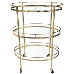 Mid-Century Three-Tier Brass Bar Cart, Attributed to Maxwell Phillips