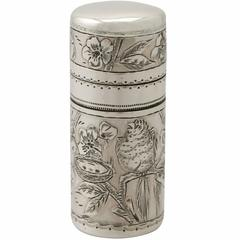 Sterling Silver Scent Flask by Sampson Mordan & Co, Antique Victorian