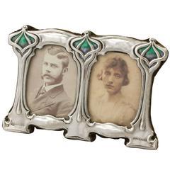Edwardian Art Nouveau Enamel and Sterling Silver Double Photograph Frame