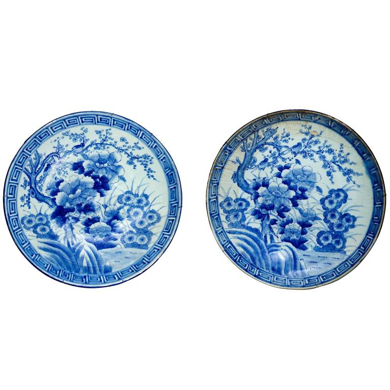 Pair of Japanese Meiji Blue and White Porcelain Chargers For Sale