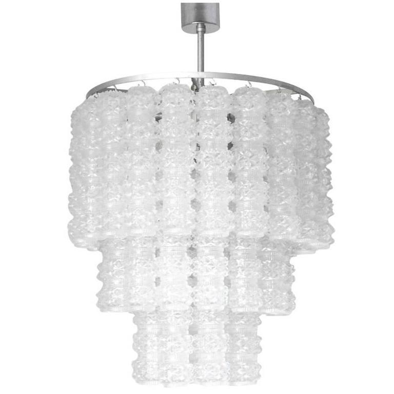 Italian Murano Textured Glass Tubes Chandelier by Venini