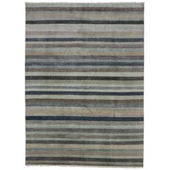 New Transitional Striped Area Rug with Nautical, Coastal Cape Cod Style