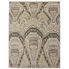 Contemporary and Abstract Ikat Rug with Modern Design in Neutral Colors
