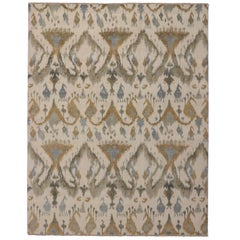 NewContemporary Abstract Ikat Area Rug with Modern Style, Neutral Color Area Rug