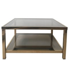 23-Carat Rectangular Gold-Plated Coffee Table, 1960s