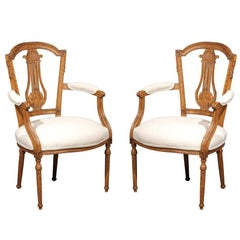 Neoclassical Period Pair of Ashwood Armchairs with Carved Lyre Splat, circa 1790