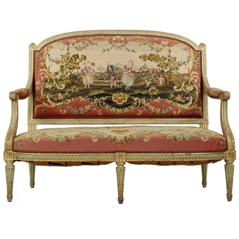 Antique Tapestry Sofa: French Louis XVI Style Green Painted Antique Settee Sofa