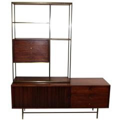 Paul McCobb Brass and Walnut Room Divider Dresser Shelf