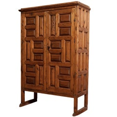 18th Century Mexican Carved Pine Armoire
