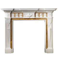 18th Century Reproduction Neo-Classical Chimneypiece Carved in Marble