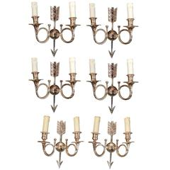 Six Silvered Bronze Sconces with Monogram and Number, circa 1960