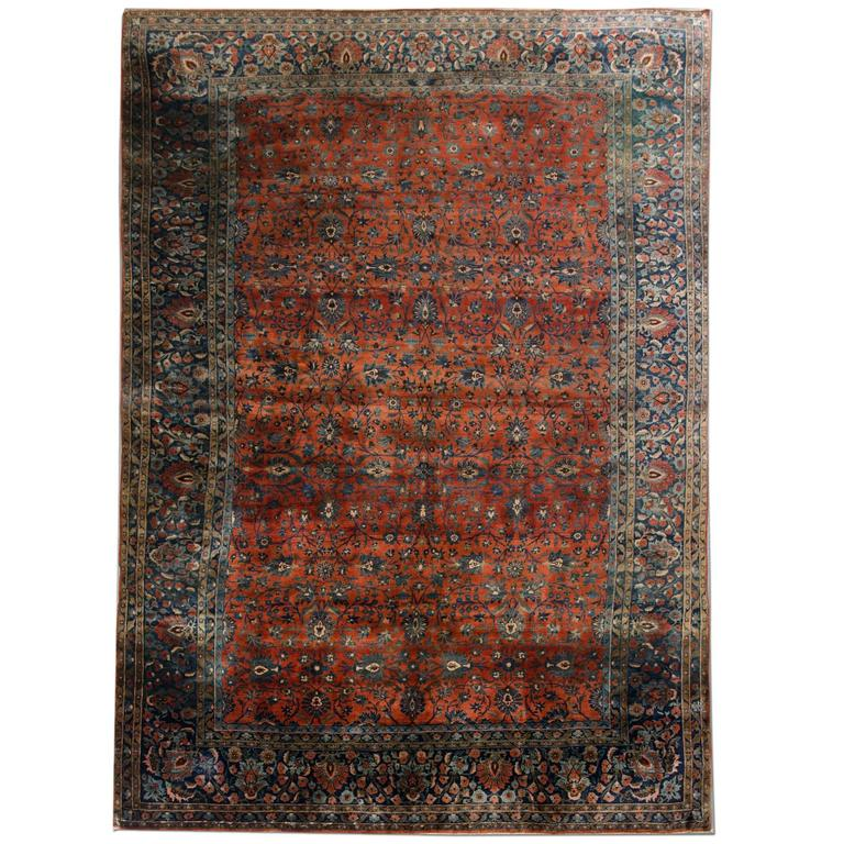 Antique Rugs Persian Kashan Rug Mohtasham Carpet For