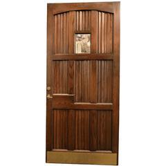 Handsome Oak Linen Fold Entry Door with Window and Original Hardware