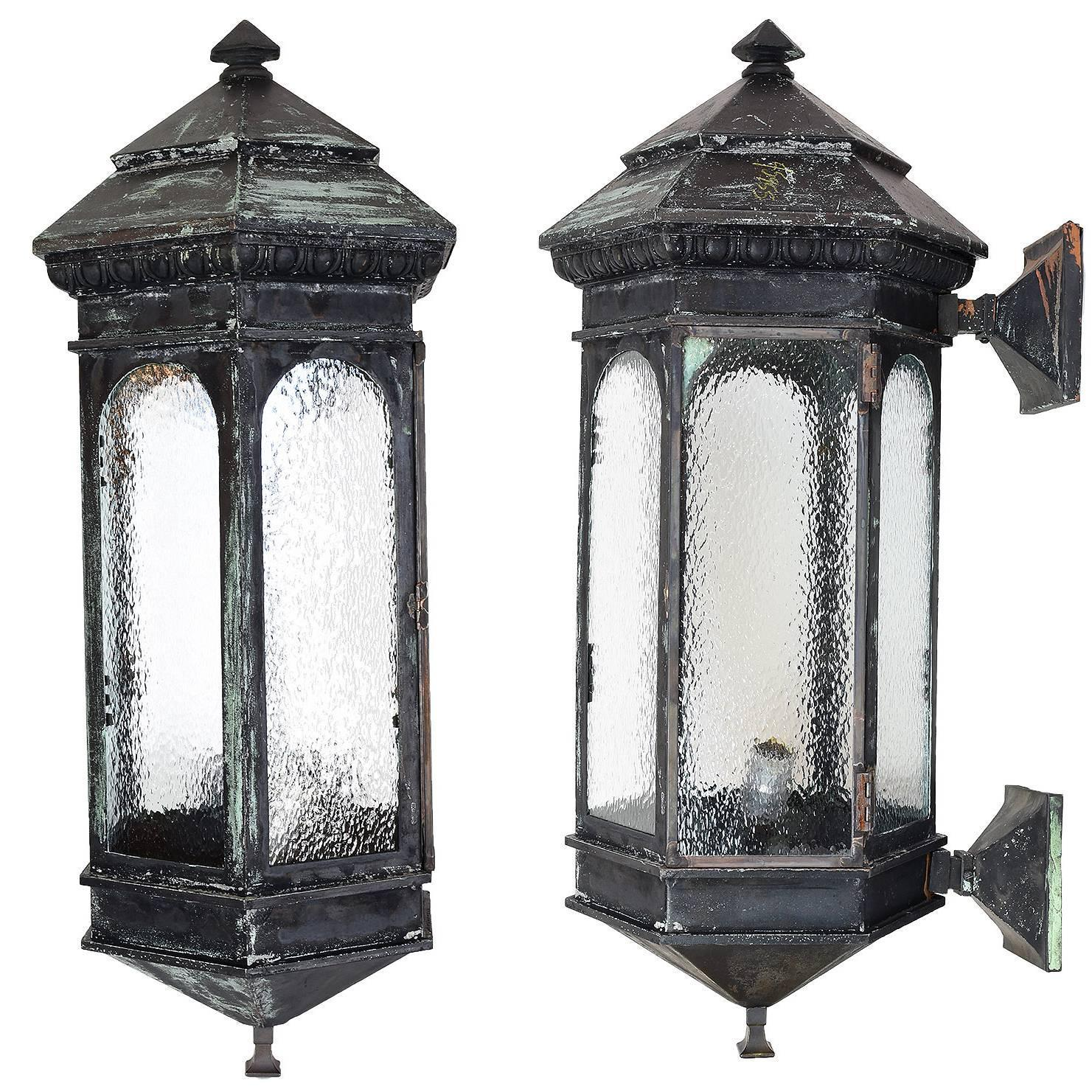 pair of victorian oversized exterior sconces with textured