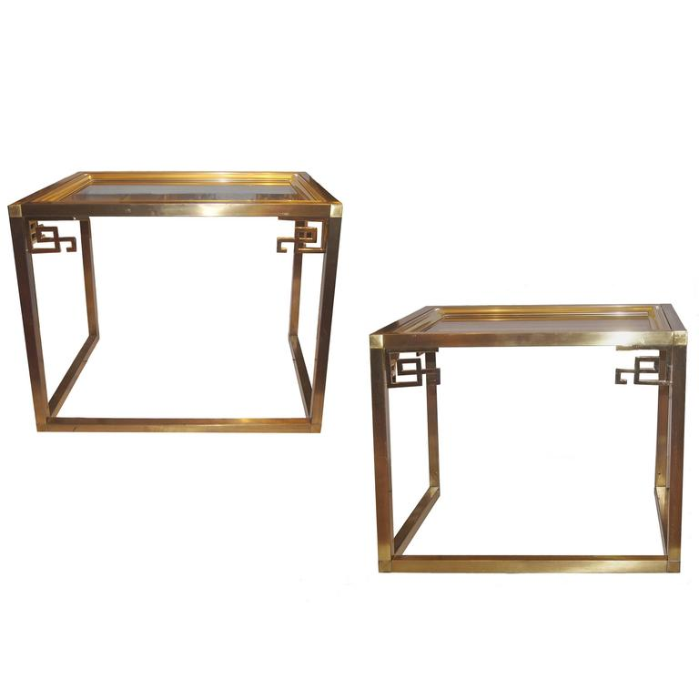 Pair of Chinoiserie Moderne Brass Side Tables