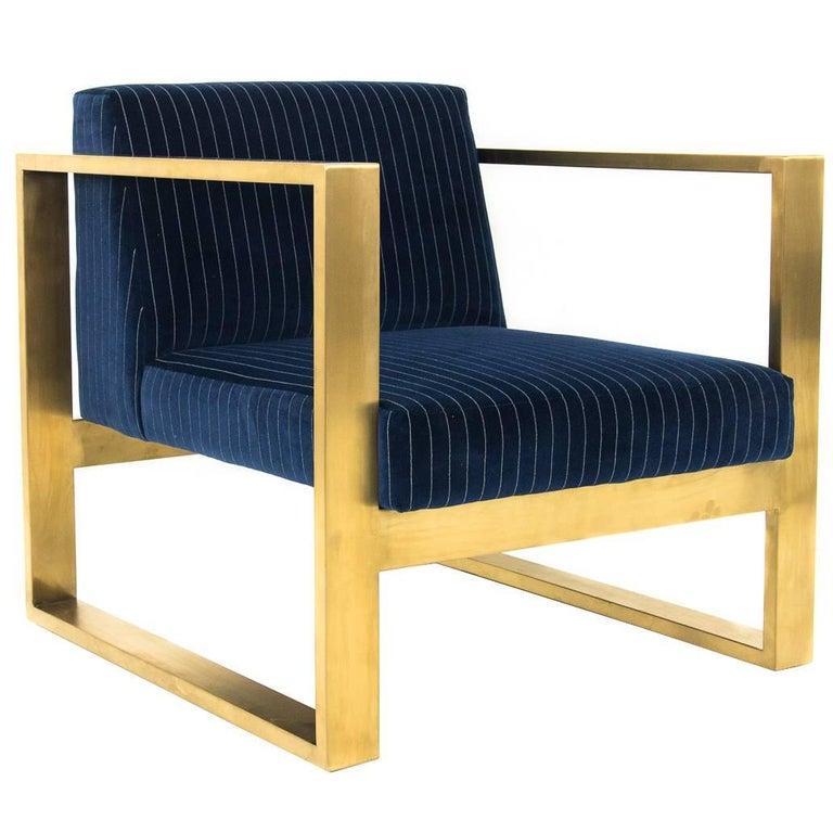 Modern Style Kube Chair in Navy & White Pinstriped Velvet & Brass U-Leg Frame For Sale