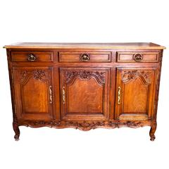 Late 19th Century French Regency Three-Door Three-Drawer Enfilade in Carved Oak