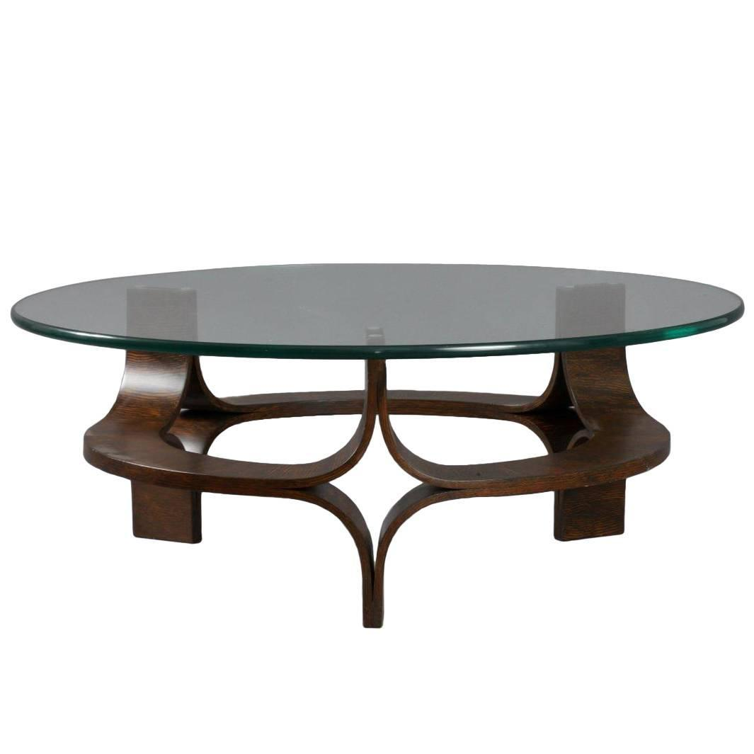 Round Rosewood Mid Century Modern Sculptural Bentwood Glass Top Coffee Table For Sale At 1stdibs
