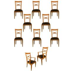 Set of Two Armchairs and Eight Chairs in Art Deco Neoclassical Style