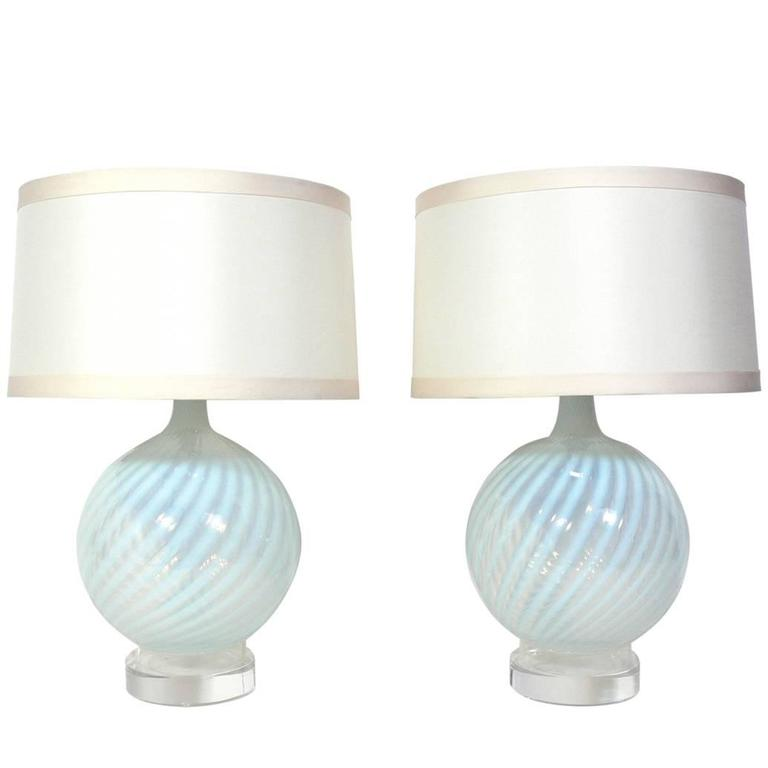 Pair of Murano Glass Lamps with Lucite Bases