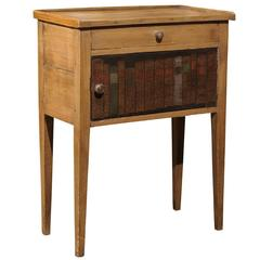 English Pine Side Table with Faux Books