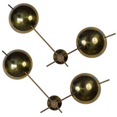 Two Rare Brass Wall Lights by Lightolier