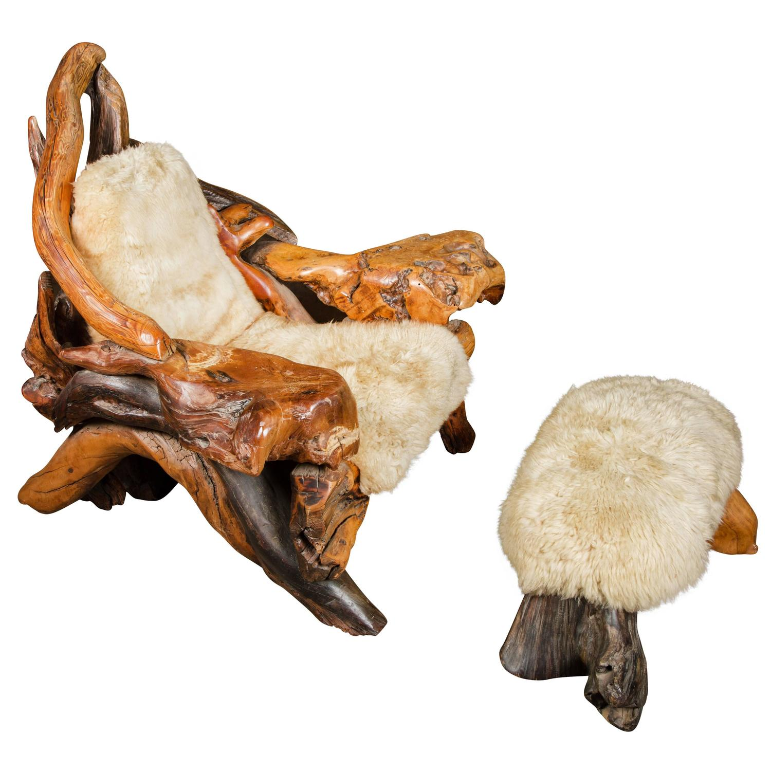 Sheepskin Lounge Chairs 65 For Sale at 1stdibs