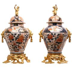 Pair of Gilt Bronze Ormolu-Mounted Imari Vases