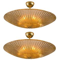 Large Murano Champagne Blown Ceiling Fixture