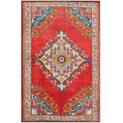 Antique Turkish Oushak Small Rug in Bright Red, Blue, Lavender, Orange & Green