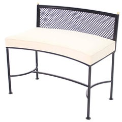 Wrought Iron Curved Bench New Upholstery