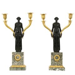 Pair of Early 19th Century Empire Gilt Bronze Candelabra