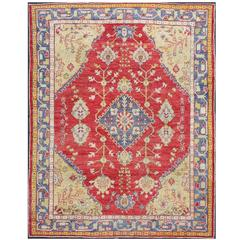 Antique Oushak Rug in Red, Blue and Light Green Colors