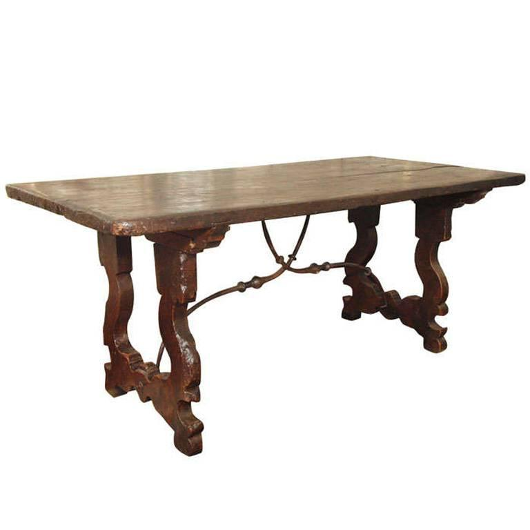 Th Century Italian Baroque Oak Table With HandForged Iron - Tuscan spring dining table