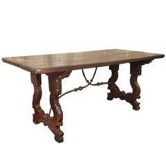 18th Century Italian Baroque Oak Table with Hand-Forged Iron Stretchers