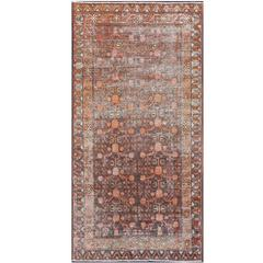 Antique Khotan Carpet in Charcoal, Burnt Red, Salmon and Taupe