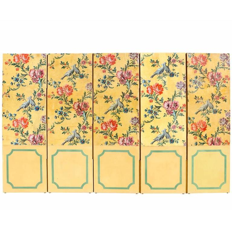 A Hand Painted Four Panel French Screen