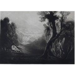 John Martin, Satan Contemplating Adam And Eve In Paradise, Mezzotint, 1827