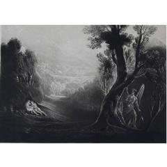 John Martin, Satan Contemplating Adam And Eve In Paradise, Mezzotint, 1827