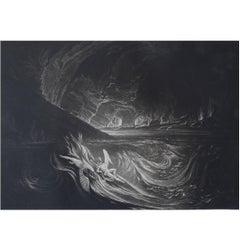 John Martin, Satan On The Burning Lake, Mezzotint, 1827