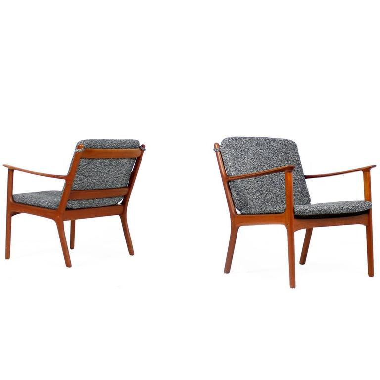 Pair of 1960s ole wanscher mod pj112 teak easy lounge for Lounge chair kopie