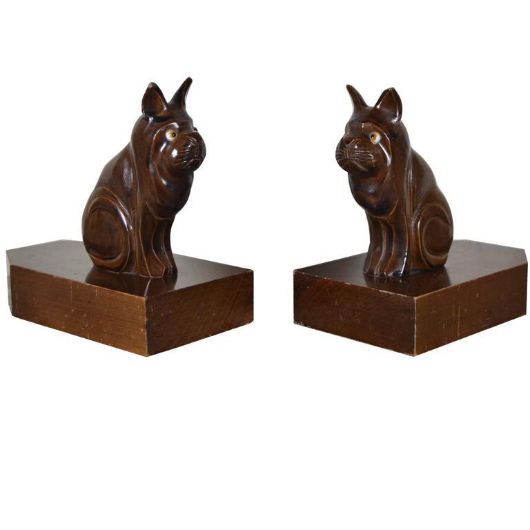 Art Deco Carved Wood Dog Figural Bookends