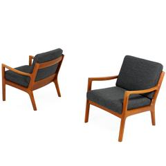 Pair of 1960s Ole Wanscher Mod. 166 Teak Easy Lounge Chairs Danish Modern