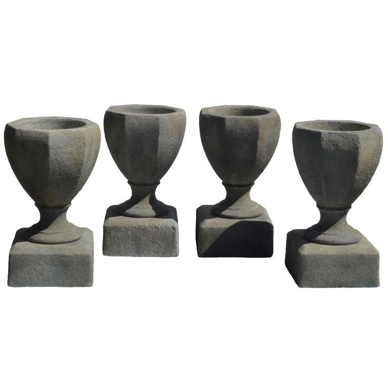 Cast Cement Octagonal Planter/Urn on Pedestal