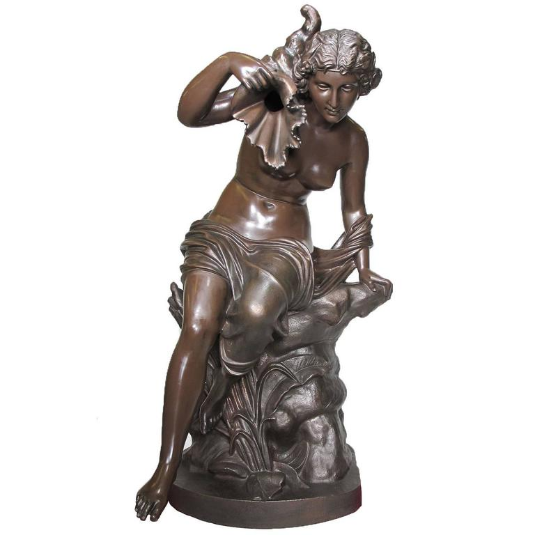 Large French 19th Century Cast-Iron Fountain Figure of a Seated Nude Maiden For Sale