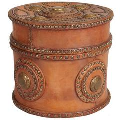Large Antique Italian Leather Box with Decorative Brass Studs, circa 1900