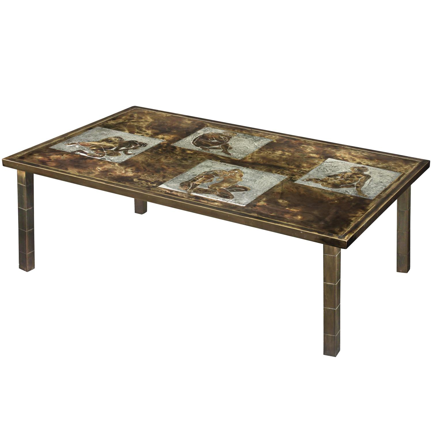 Rare Coffee Table With Female Nudes By Philip And Kelvin LaVerne At 1stdibs