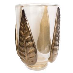 Leaf Motif Murano Glass Vase by Pino Signoretto